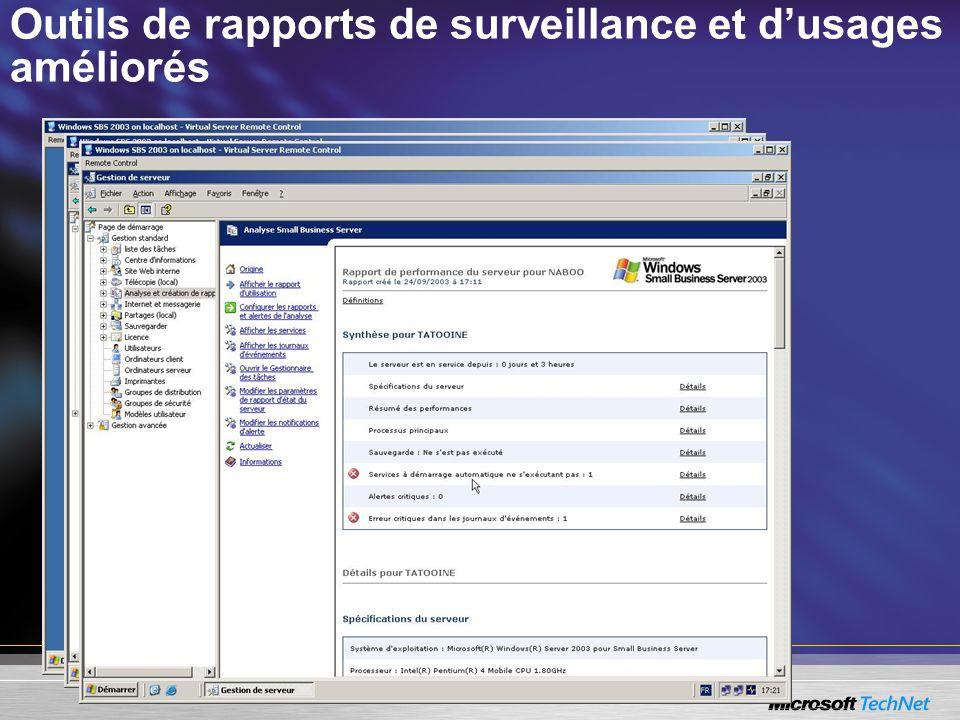 Outils de rapports de surveillance et d'usages améliorés