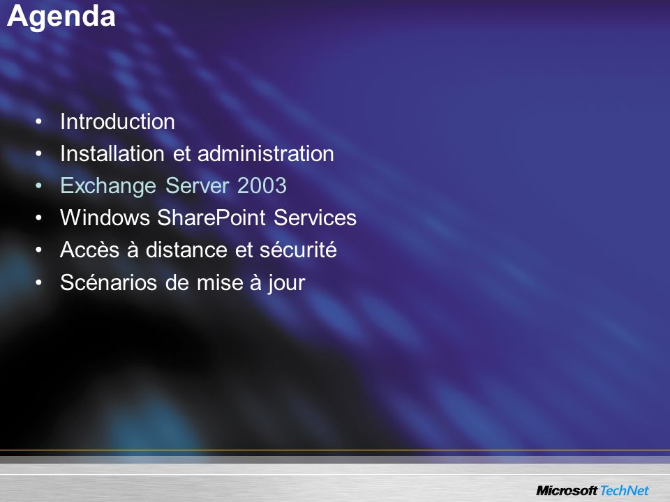 Agenda Introduction Installation et administration