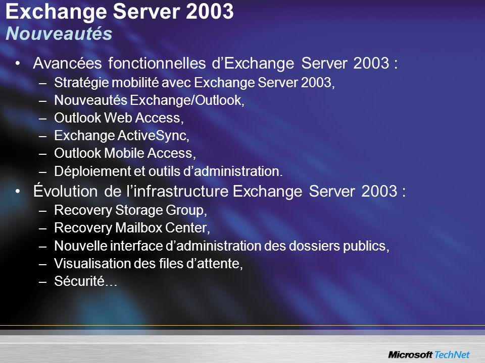 Exchange Server 2003 Nouveautés