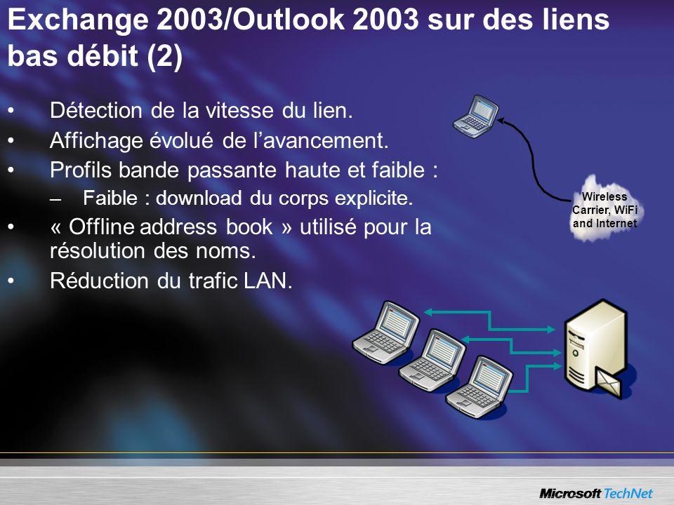 Exchange 2003/Outlook 2003 sur des liens bas débit (2)