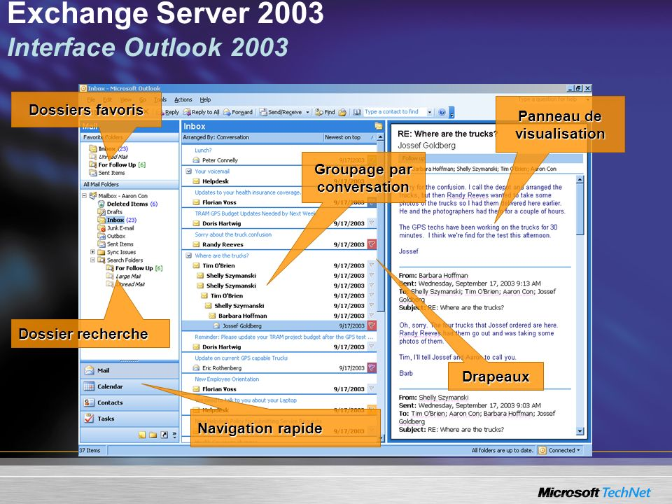 Exchange Server 2003 Interface Outlook 2003