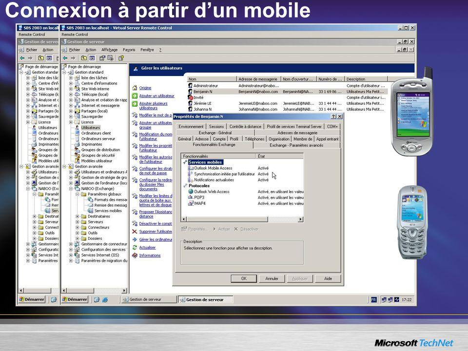 Connexion à partir d'un mobile