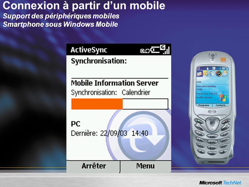Connexion à partir d'un mobile Support des périphériques mobiles Smartphone sous Windows Mobile