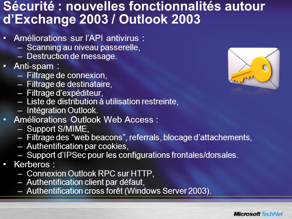 Sécurité : nouvelles fonctionnalités autour d'Exchange 2003 / Outlook 2003