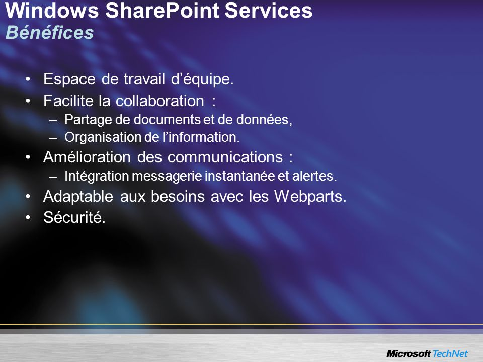 Windows SharePoint Services Bénéfices