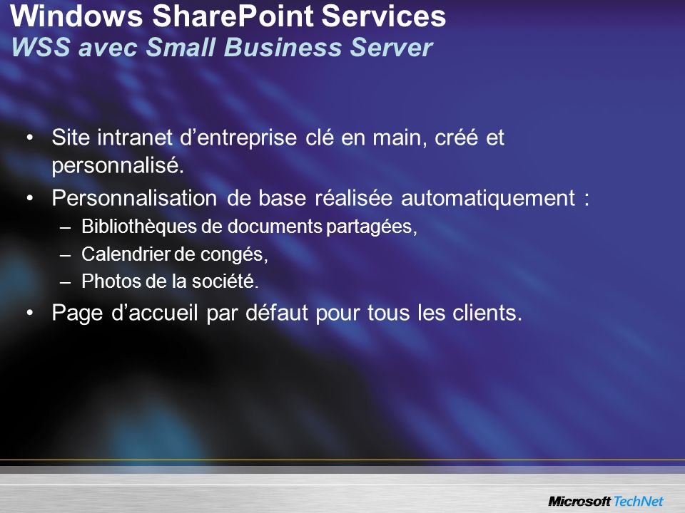 Windows SharePoint Services WSS avec Small Business Server