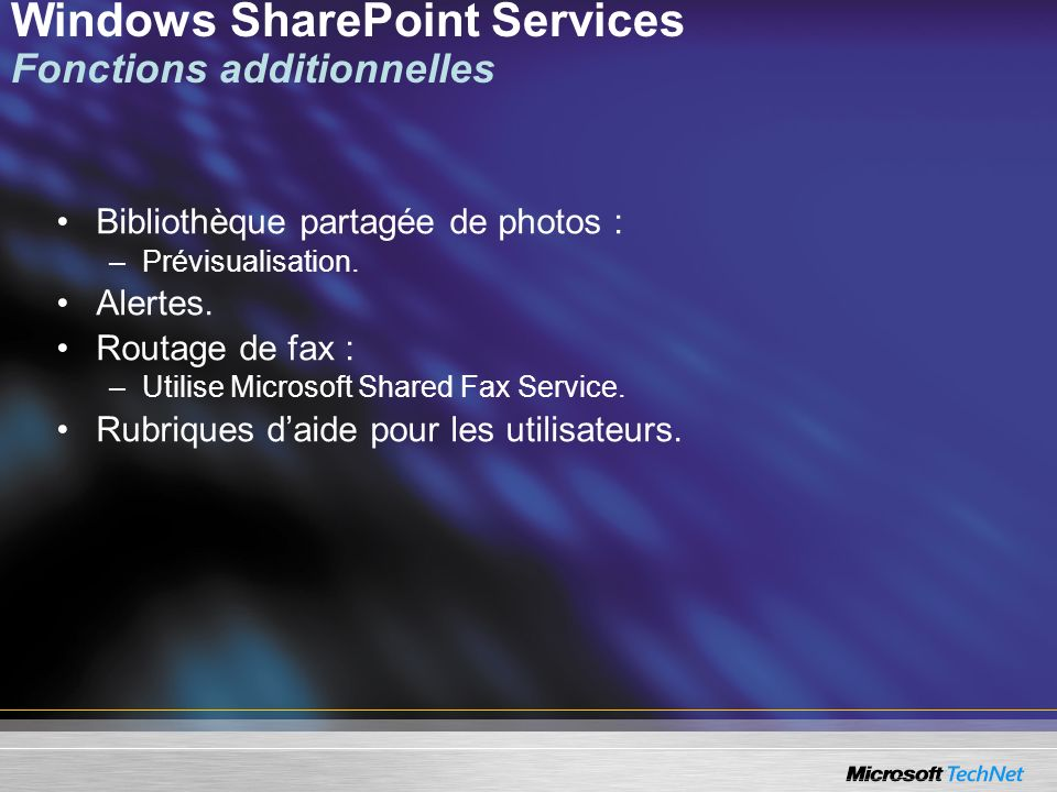 Windows SharePoint Services Fonctions additionnelles