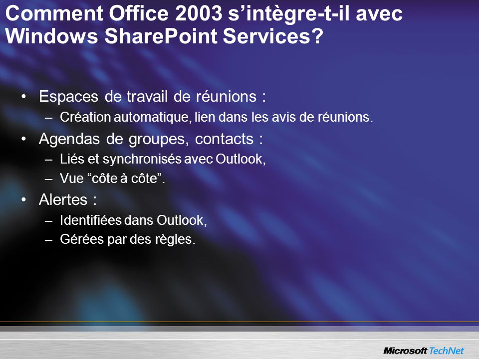 Comment Office 2003 s'intègre-t-il avec Windows SharePoint Services