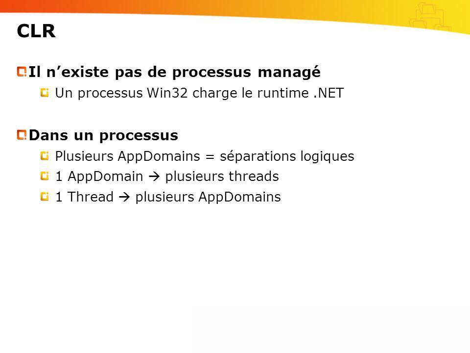 CLR Il n'existe pas de processus managé Dans un processus