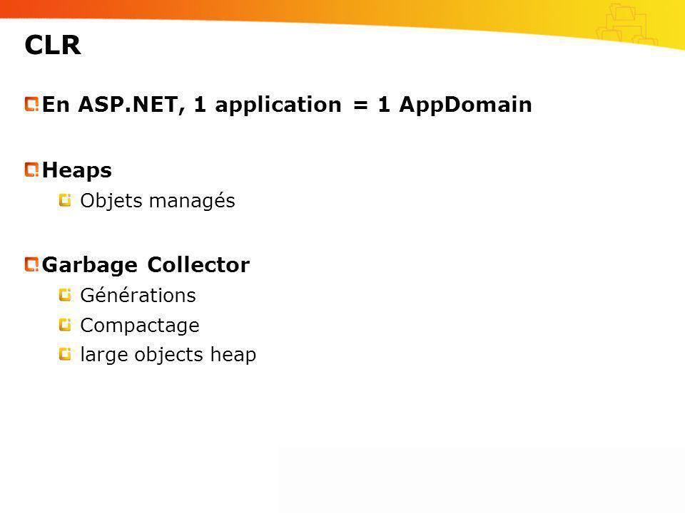 CLR En ASP.NET, 1 application = 1 AppDomain Heaps Garbage Collector