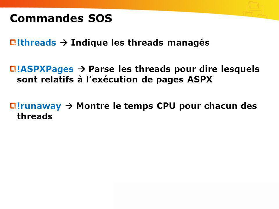 Commandes SOS !threads  Indique les threads managés