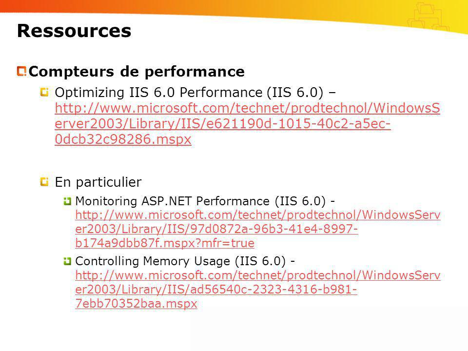 Ressources Compteurs de performance