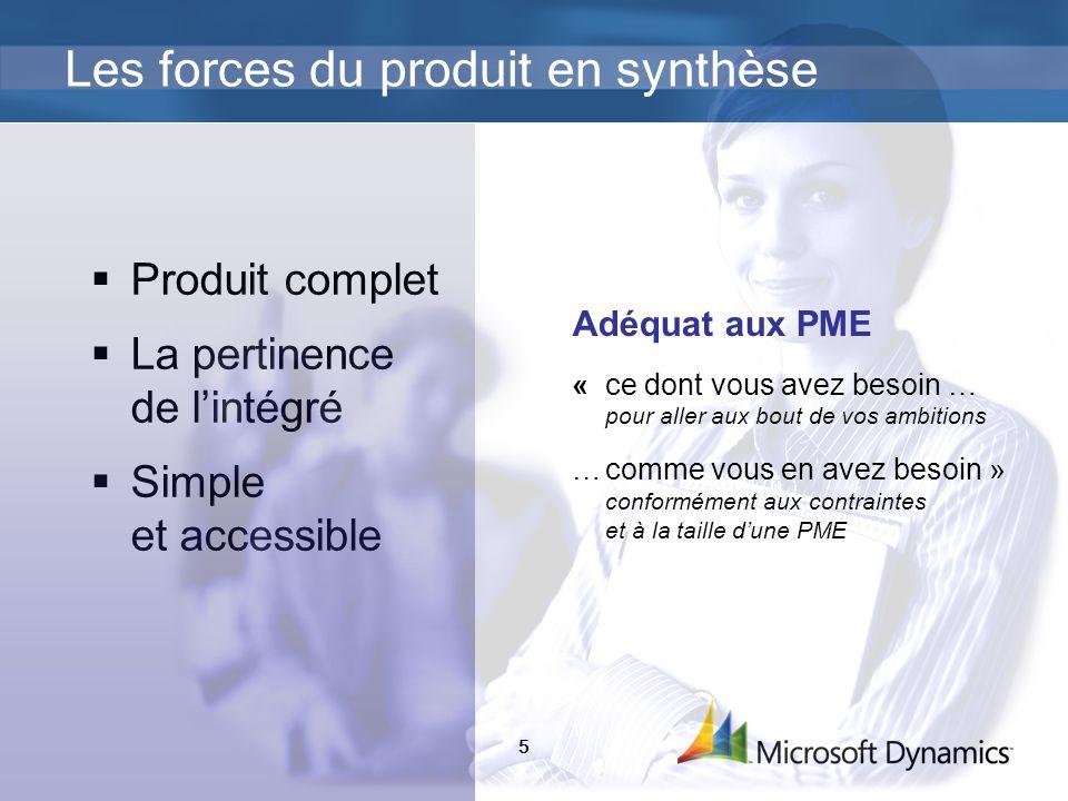 Les forces du produit en synthèse