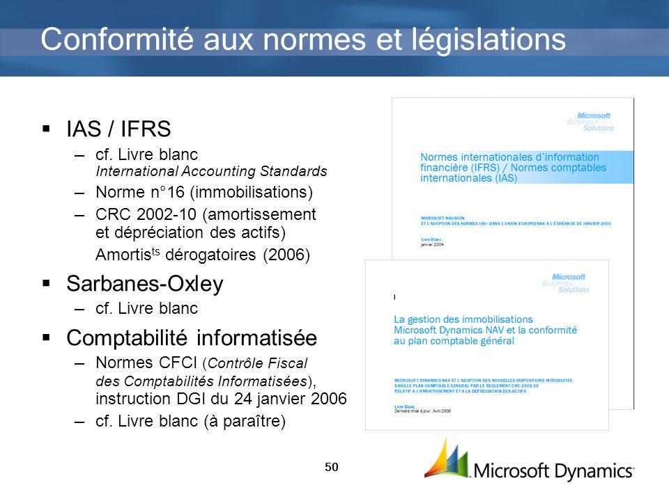 Conformité aux normes et législations