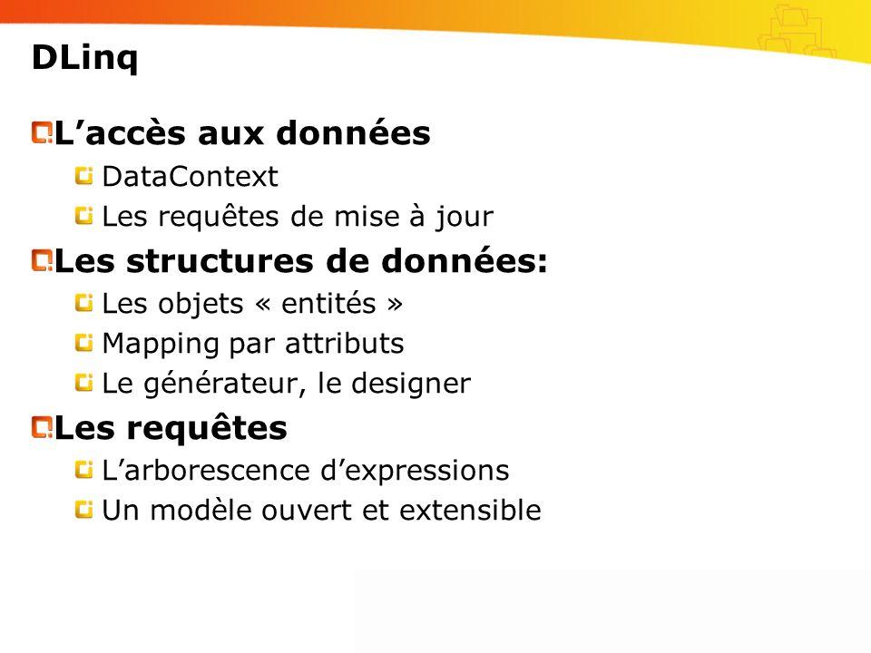 DLinq L'accès aux données Les structures de données: Les requêtes
