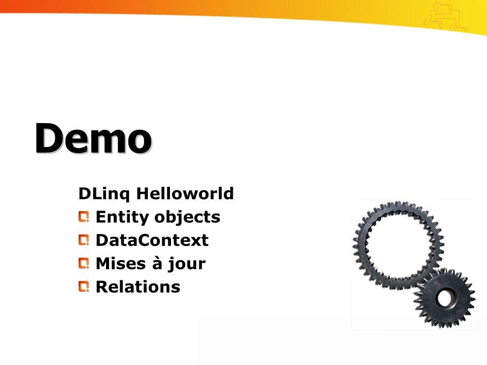 DLinq Helloworld Entity objects DataContext Mises à jour Relations