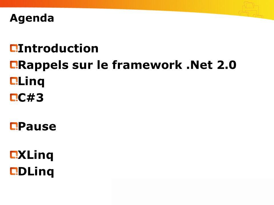 Rappels sur le framework .Net 2.0 Linq C#3 Pause XLinq DLinq