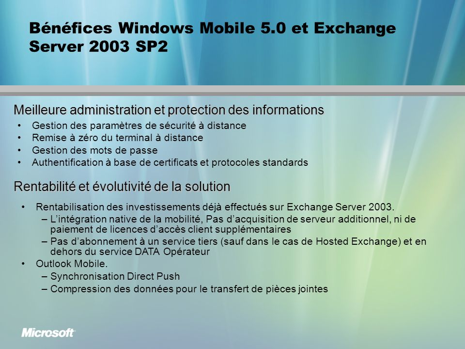 Bénéfices Windows Mobile 5.0 et Exchange Server 2003 SP2