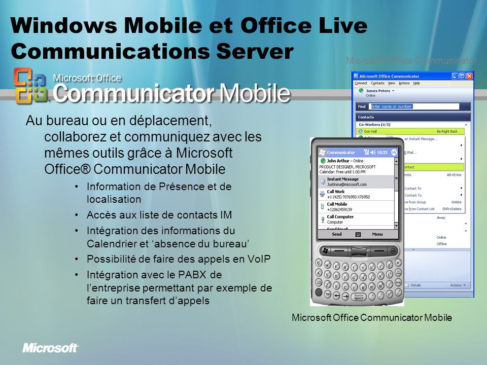 Windows Mobile et Office Live Communications Server
