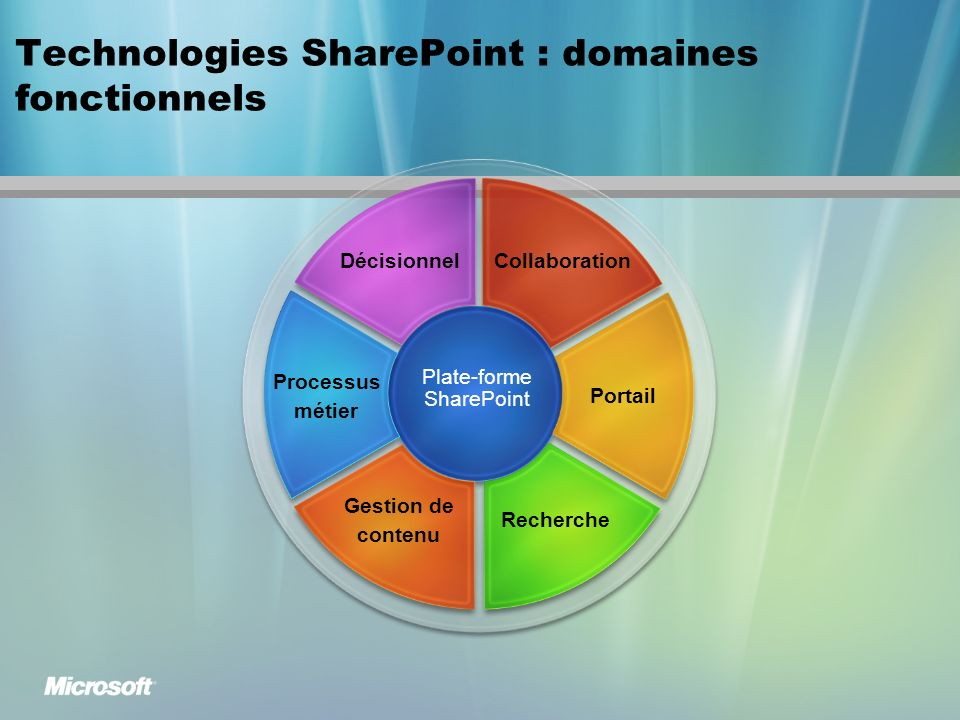 Technologies SharePoint : domaines fonctionnels