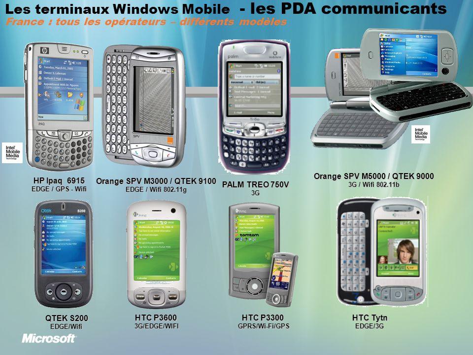 Les terminaux Windows Mobile - les PDA communicants France : tous les opérateurs – différents modèles