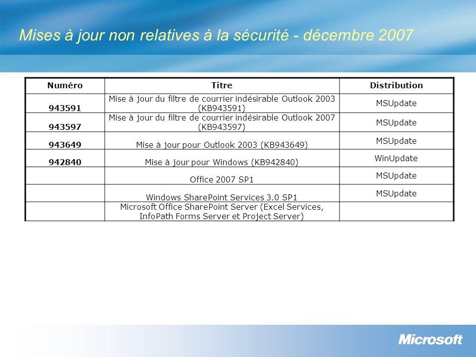 Mises à jour non relatives à la sécurité - décembre 2007
