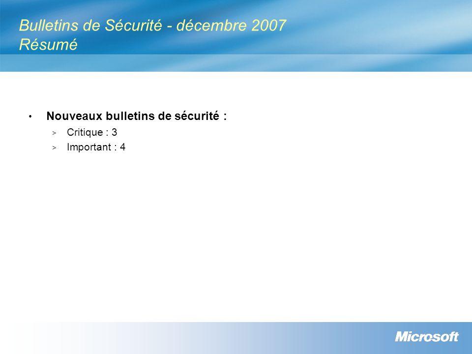 Bulletins de Sécurité - décembre 2007 Résumé