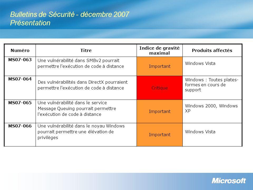Bulletins de Sécurité - décembre 2007 Présentation