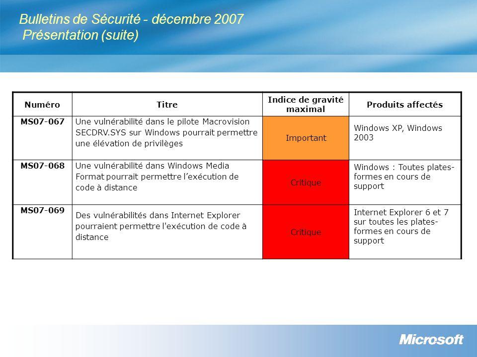 Bulletins de Sécurité - décembre 2007 Présentation (suite)