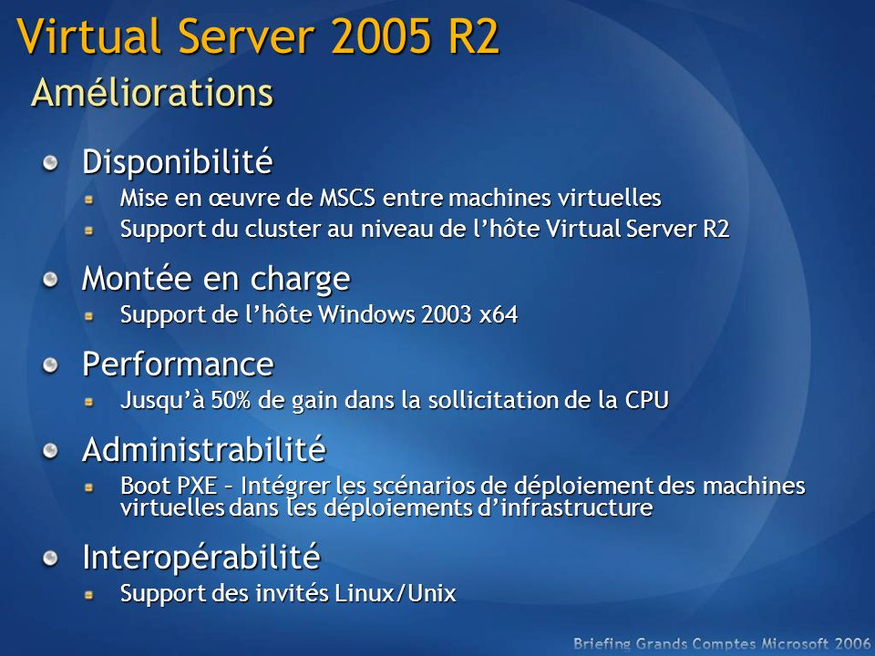 Virtual Server 2005 R2 Améliorations