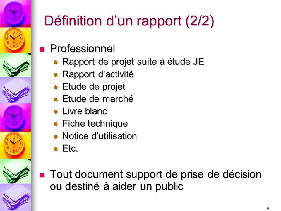 Définition d'un rapport (2/2)