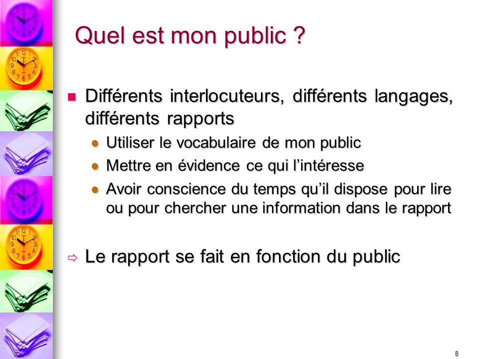 Quel est mon public Différents interlocuteurs, différents langages, différents rapports. Utiliser le vocabulaire de mon public.