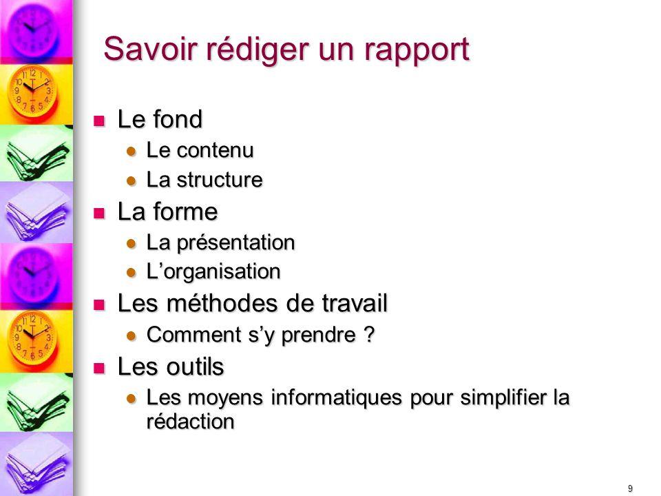 Savoir rédiger un rapport