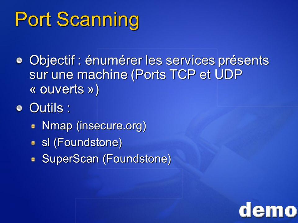 3/26/2017 3:55 PM Port Scanning. Objectif : énumérer les services présents sur une machine (Ports TCP et UDP « ouverts »)