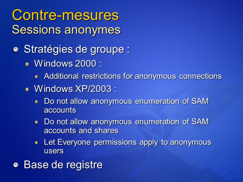 Contre-mesures Sessions anonymes