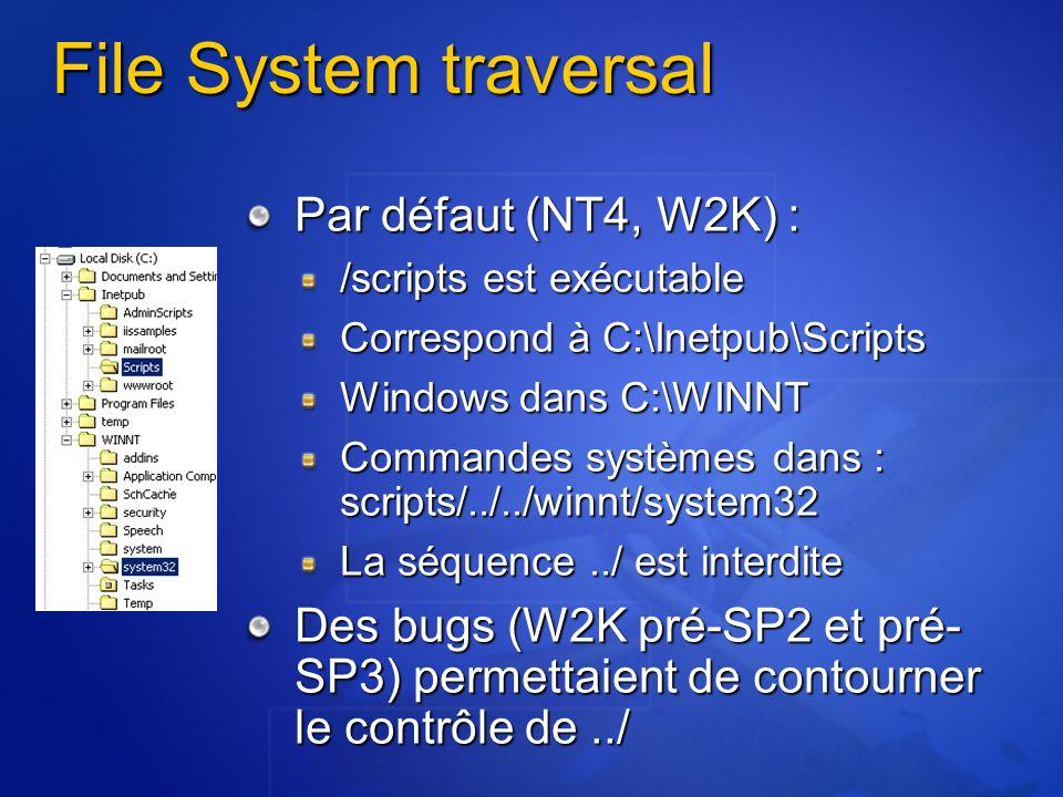 File System traversal Par défaut (NT4, W2K) :