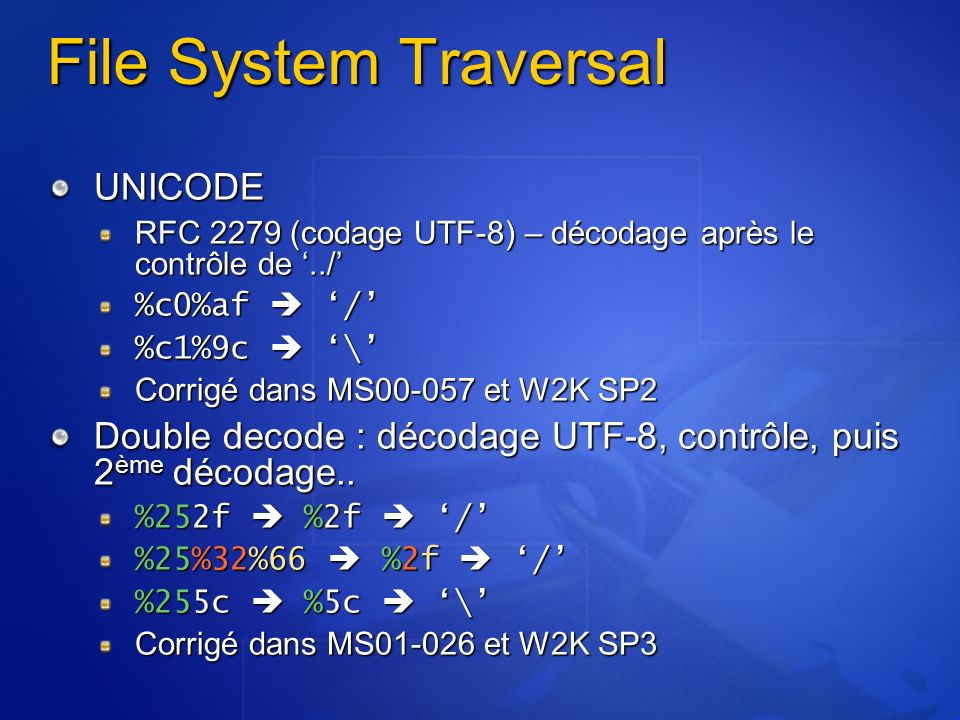 File System Traversal UNICODE