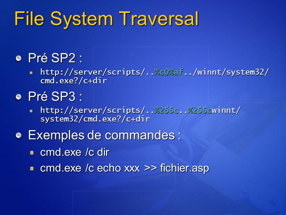 File System Traversal Pré SP2 : Pré SP3 : Exemples de commandes :