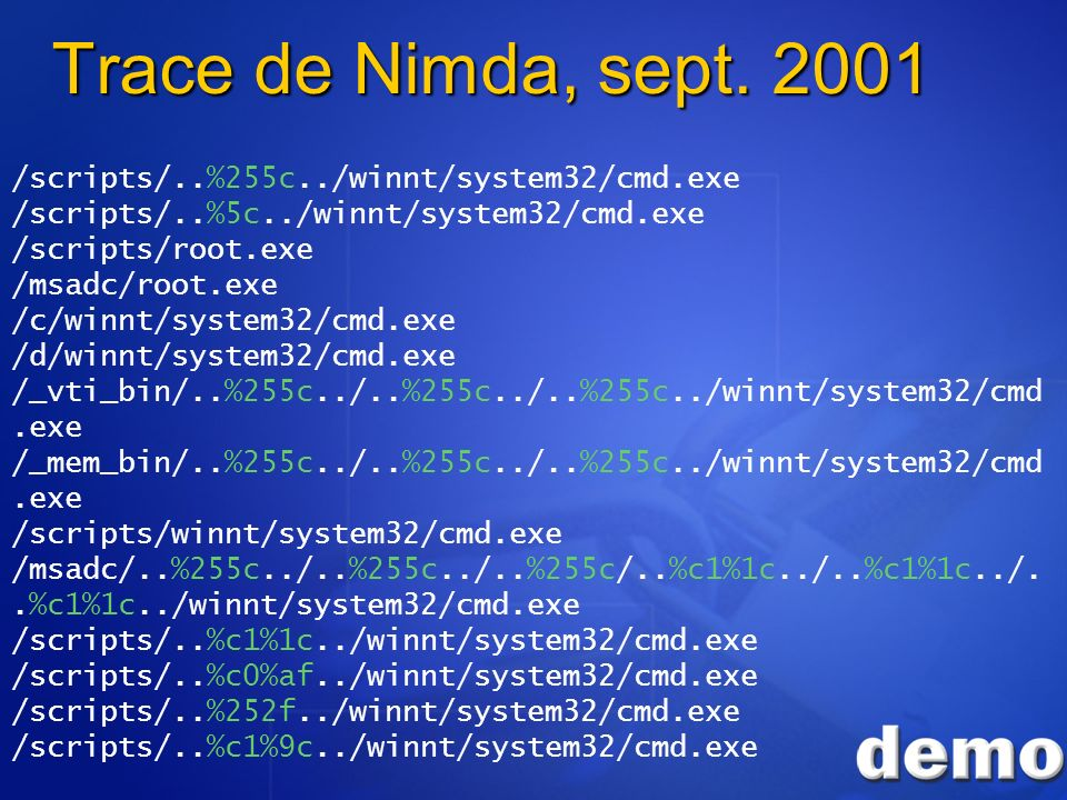 Trace de Nimda, sept. 2001 /scripts/..%255c../winnt/system32/cmd.exe