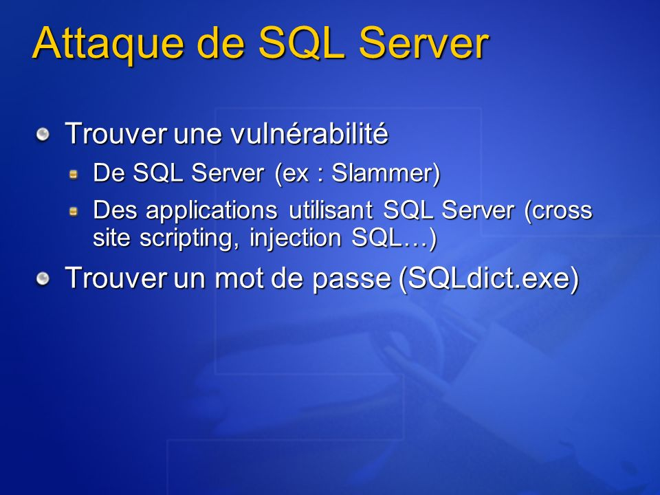 Attaque de SQL Server Trouver une vulnérabilité