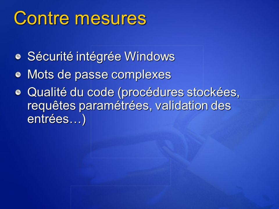 Contre mesures Sécurité intégrée Windows Mots de passe complexes