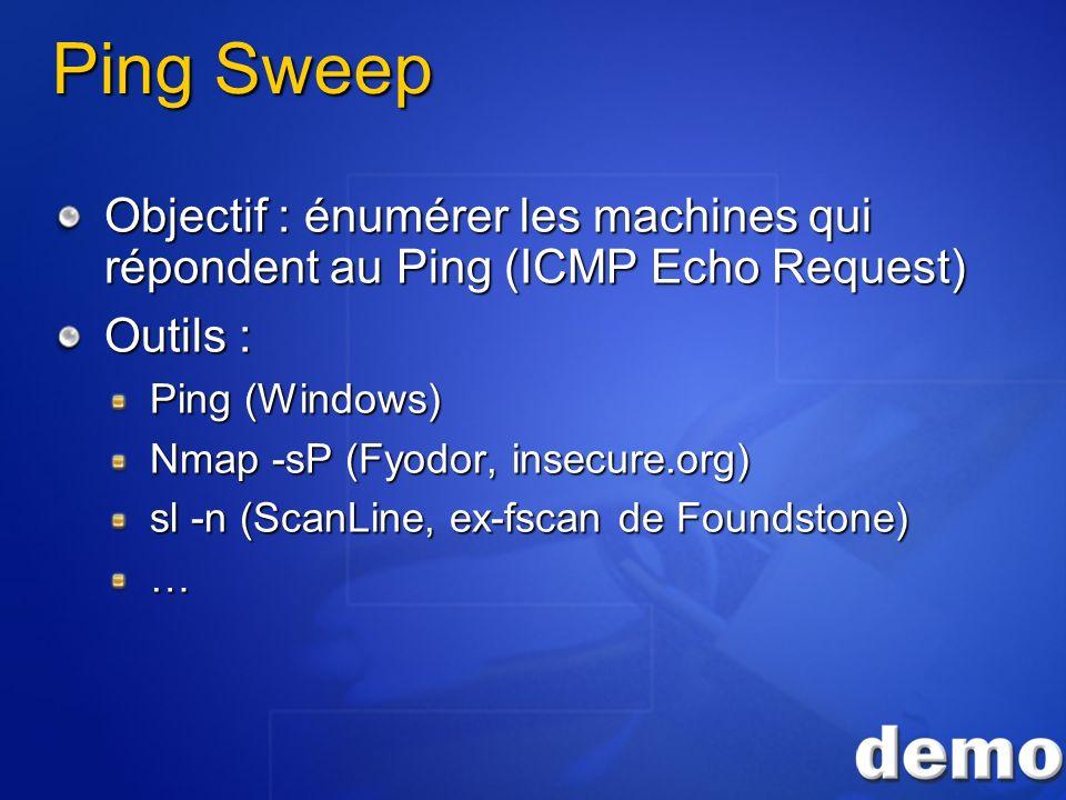 3/26/2017 3:55 PM Ping Sweep. Objectif : énumérer les machines qui répondent au Ping (ICMP Echo Request)