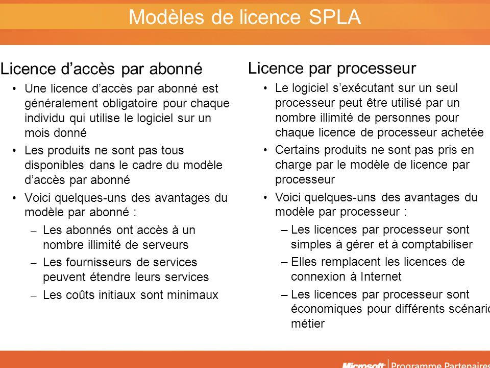Modèles de licence SPLA