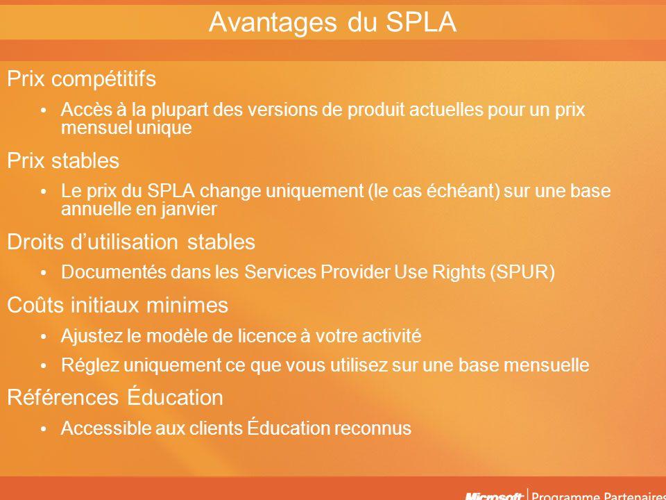 Avantages du SPLA Prix compétitifs Prix stables