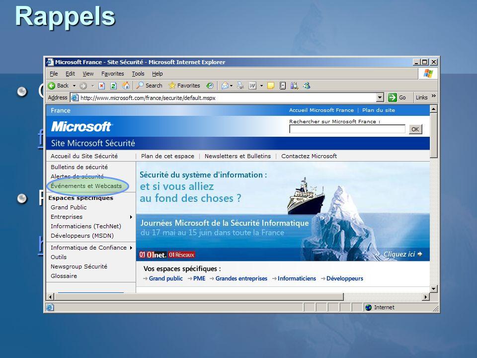 Rappels Questions : frjms@microsoft.com