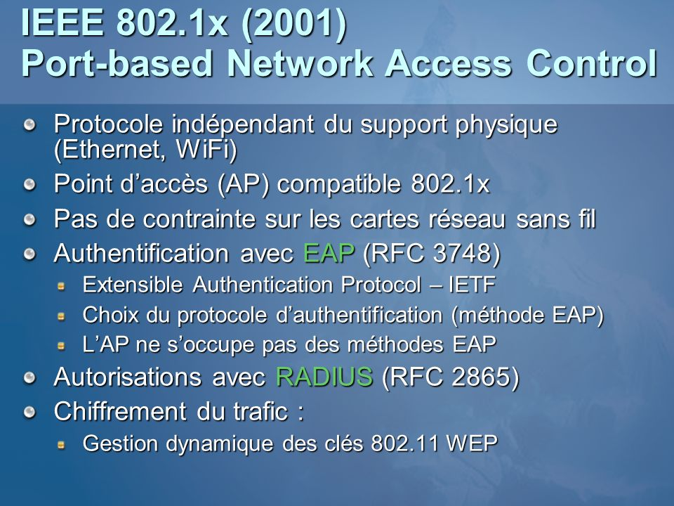 IEEE 802.1x (2001) Port-based Network Access Control