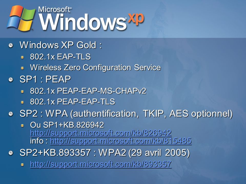 SP2 : WPA (authentification, TKIP, AES optionnel)