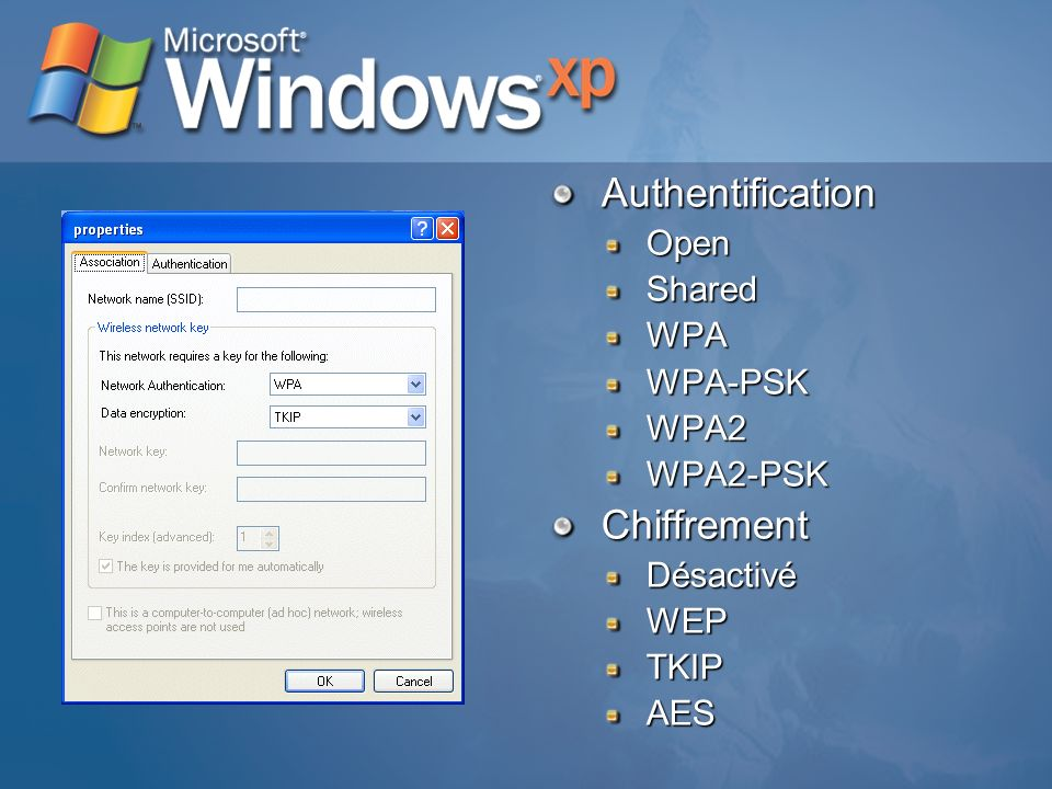 Authentification Chiffrement Open Shared WPA WPA-PSK WPA2 WPA2-PSK