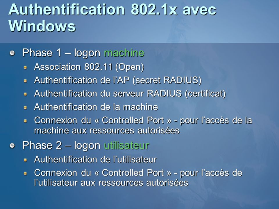 Authentification 802.1x avec Windows