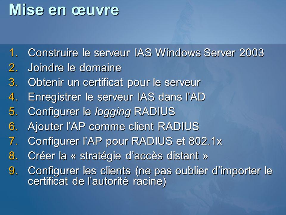 Mise en œuvre Construire le serveur IAS Windows Server 2003